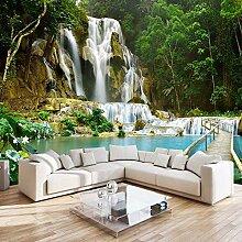Dcivey Fototapete 3D Vlies Wald Wasserfall Natur