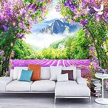 Dcivey Fototapete Tapete 3D Lavendel Blume Rebe