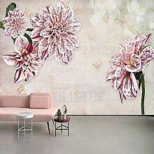 Dcivey Fototapete Tapete 3D Stereo Rosa Blumen