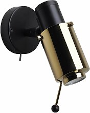 DCW Éditions Biny Spot Wandleuchte LED Gold Armatur Matt Schwarz (b) 9.60 X (d) 13.20 X (h) 15.40 Cm