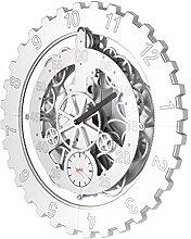 DD Dekorative Wanduhr des Wanduhr-kreativen Kreisgetriebes dekorative Schlafzimmerquarz-Wanduhr des Schlafzimmers dekorative ruhige ( Farbe : Weiß )