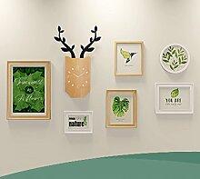 DD Foto wand Moderne kreative Rotwild hängende Wanduhr-Bilderrahmen-hängende Wandkombination Wohnzimmer-Wanddekoration ( Farbe : B )