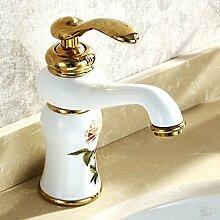 DD Golden Kupfer Wasserhahn Küche Badezimmer Schrank Waschbecken Becken Wasserhahn Sanitär Ware Weiß