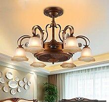 DDI Chinese Stealth Fan LED-Kronleuchter Jahrgang Kronleuchter Ventilator Lampe Deckenventilator Wohnzimmer Schlafzimmer Esszimmer zu Hause Hängeleine verstellbar