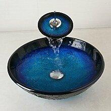 ddkd blau Becken Spüle + Badezimmer Armatur Waschbecken gehärtetem Glas WC Bad Spüle Set Wasserfall Torneira Mixer Wasserhahn