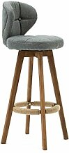DDZQ Barhocker Holz mit Lehne Grau, 360° Drehbar