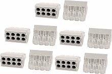 DealMux 10Pcs 0.75-2.5mm2 Push-Draht-Verbindungsstück 8 Löcher Leiter-Reihenklemme Grau
