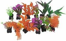 DealMux 12 Stück Keramik-Basis Kunststoff Aquarium Künstliche Pflanze Gras Ornamen