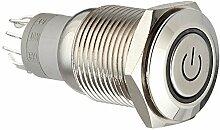 DealMux 12V LED-Lampe 5-Pin Momentary Metall Druckschalter, 16mm