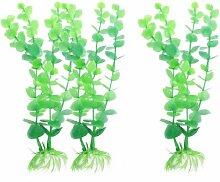 DealMux 3-teiliges Keramik-Basis Aquarium Künstliche Pflanze Gras, 8,3-Inch