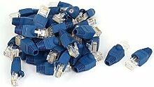 DealMux 40 Stück 8P8C RJ45 Kontakte Leiter geschirmt Netzwerk End Wire Adapter Stecker w Stiefel Abdeckung Blau