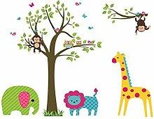DealMux Baum Elefant Giraffe Löwe Affe Muster
