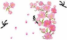 DealMux Blumen-Vogel-Muster-Haushalt Abnehmbare Wandaufkleber Tapete Dekoration