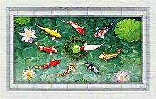 DealMux Goldfish Lotus Pattern PVC wiederverwendbare Wandaufkleber DIY Tapeten Wandbild Dekoration