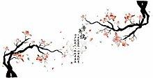 DealMux Hibiscus-Muster PVC Herausnehmbare DIY Wand-Aufkleber-Dekoration 90 x 60cm