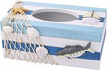 DealMux Holz Familie Parlor Fisch Shell Dekoration Tissue Box-Halter-Organisator Tricolor
