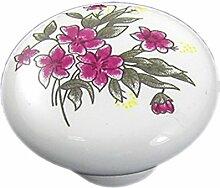 DealMux Kabinett-Möbel-Tür-Blumen-Druck-Keramik Knauf, Rosa