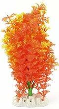 DealMux Kunststoff Aquarium Künstliche Pflanze Gras Dekoration 20cm Höhe orange