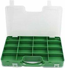DealMux Kunststoff Doppelschichten für elektronische Komponenten-Speicher 24 Slots Fall Box Container Grün