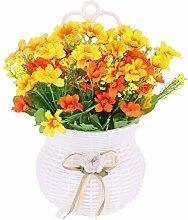 DealMux Kunststoff Familie Künstliche Dasiy Vase Handgefertigte DIY Wand hängende Dekoration Blumen-Gelb
