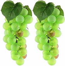 DealMux Kunststoff Heim Tabelle Dekoration Craft Simulation Künstliche Obst Traube 2ST Grün