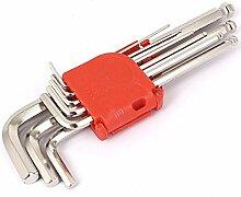 DealMux L Art-Kugel-End Metall Hex Spanner Wrench Set Werkzeuge Silber-Ton 9 in 1