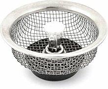 DealMux Metall Sink Garbage Abfluss Siebkorbfilter Stopper Silber-Ton-Schwarz