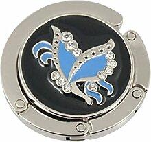 DealMux Round Schmetterling Dekor faltbare Handtasche Haken Kleiderbügel Blau