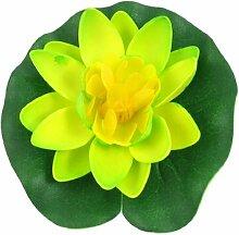 DealMux Schaum Fisch-Aquarium Float Lotus Pflanze Blume, Gelb / Grün