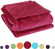 DealMux weicher warme Wolldecke Luxus Plüsch Fleece Decke, Geeignet für Stuhl oder Bett, maschinenwaschbar, Fuchsia, 230 x 250 cm