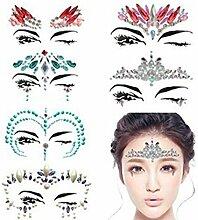 Deanyi Deko-Sticker für Gesicht, Strass,