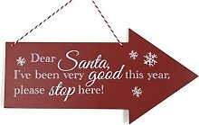 Dear Santa Stop Pfeil Weihnachts Holzschild Schild Dekoration