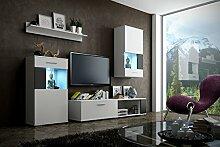 DEBBY Moderne Wohnwand, Exklusive Mediamöbel, TV-Schrank, Neue Garnitur, Große Farbauswahl (RGB LED-Beleuchtung Verfügbar) (Weiß MAT base / Weiß MAT front + schwarzen Einsätzen, Möbel)