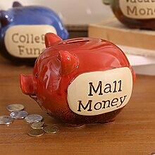 Debon Creative Keramik Pig Sparschwein, Persönlichen Coin Bank Geld sparen Box/Jar ro