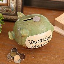 Debon Creative Keramik Pig Sparschwein, Persönlichen Coin Bank Geld sparen Box/Jar grün
