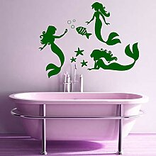 Decal Vinyl Sticker Mermaid With Fish Bubble For