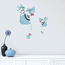 DecalMile Hellblau Teekanne Tassen Wandsticker Vögel Wandtattoo Papierschnittstil Herausnehmbar Wandaufkleber Wandbilder für Esszimmer Küche Zimmer