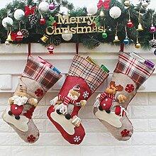 Decdeal 3er Set Nikolausstiefel Weihnachsstrumpf