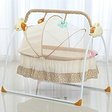Decdeal Automatische Baby Wiege Elektrische Babyschaukel Babybett MP3-Player, Moskitonetz, 3 Schaukelgeschwindigkeit, 12 Melodie
