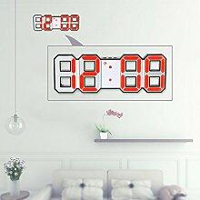 Decdeal LED Wanduhr Tischuhr Digital Wecker mit LED Anzeige Helligkeit Einstellbar (Rot-Schwarz)