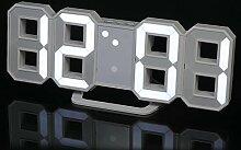 Decdeal LED Wanduhr Tischuhr Digital Wecker mit weißer LED Anzeige Helligkeit Einstellbar