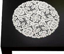 rundes Deckchen Spitzendeckchen aus purer Spitze 16 cm rund Silbergrau