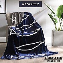 Decke Blau Kuscheldecke 150x200 cm flauschige aus weich kuschelig warm Microfaser Flanelle Wolldecke/Fleecedecke/Sofadecke/Tagesdecke für Schlafzimmer/Wohnzimmer mit Kaschmir-Touch Fischdecke von NANPIPER
