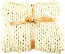 Decke Gestrickte Grobe Strickdecke Wolle Garn