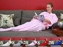 Decke mit Ärmel Komfortdecke Kolterdecke Kuscheldecke TV Decke 130 cm x180 cm, Farbe:PINK