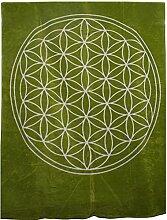 Decke mit der Blume des Lebens aus reiner Bio-Baumwolle (Hopfen/Natur)