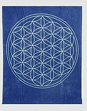 Decke mit der Blume des Lebens aus reiner Bio-Baumwolle (Indigo/Aquamarin)