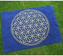 Decke mit der Blume des Lebens aus reiner Bio-Baumwolle