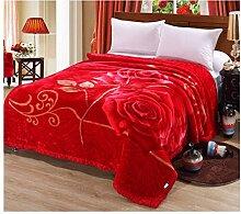 Decke Polyester Doppelschicht Rot verdicken