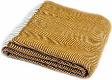 Decke/Überwurf mit Fischgrätenmuster aus reiner